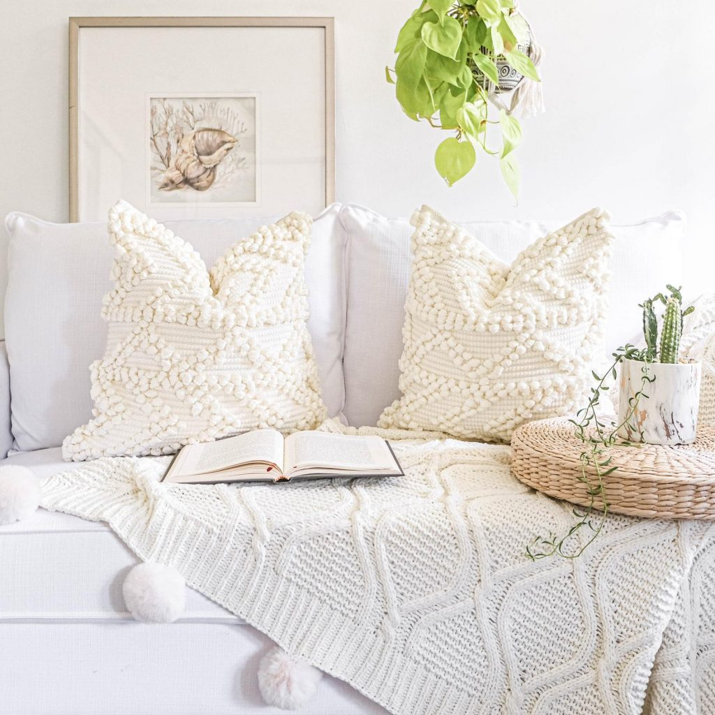 boho ivory white tufted throw pillow cover, hygge bedroom