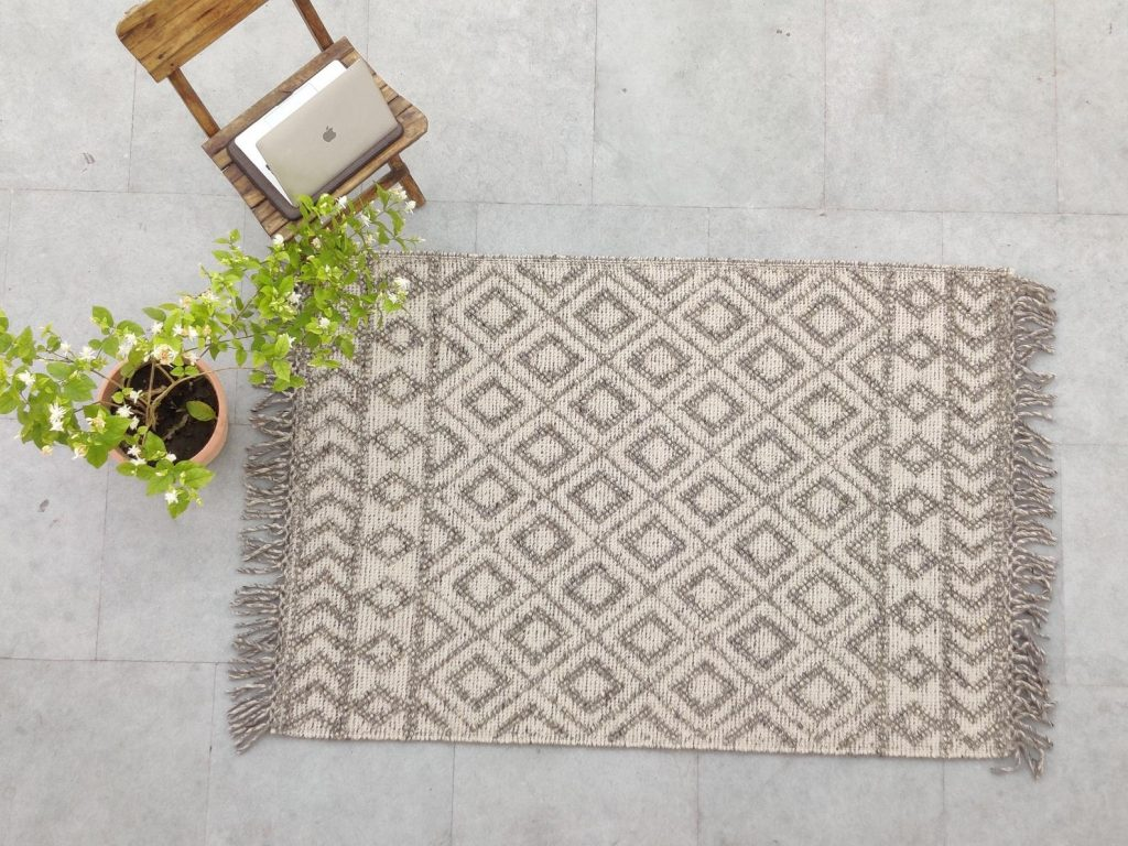 handwoven wool rug from etsy