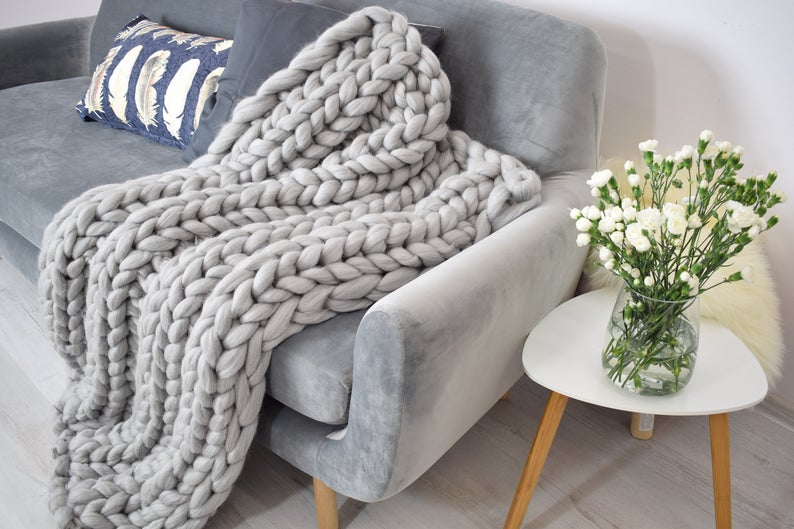 knit blanket made from merino wool