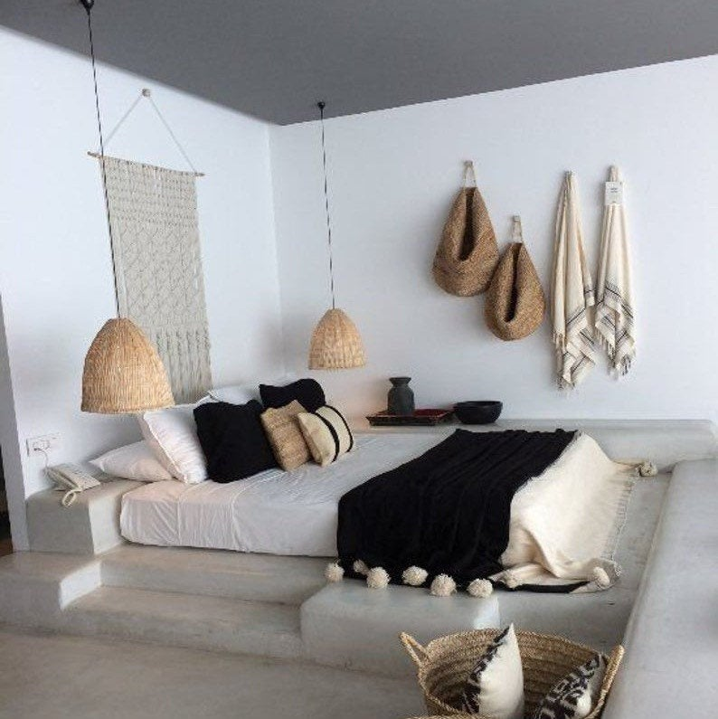 moroccan blanket with throws, hygge bedroom
