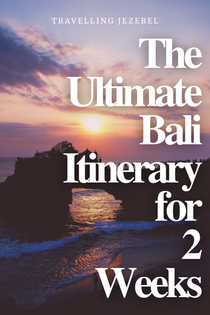 The Ultimate Bali Itinerary for 2 Weeks. From luscious rice paddies to jagged cliffs, sacred temples and pristine beaches, this petite Indonesian island really does have it all, and if you're planning a trip to Bali, it can be difficult to know where to begin. With this in mind, I decided to put together a Bali itinerary that will help you plan a wonderful 2 weeks in Bali. #bali #baliitinerary