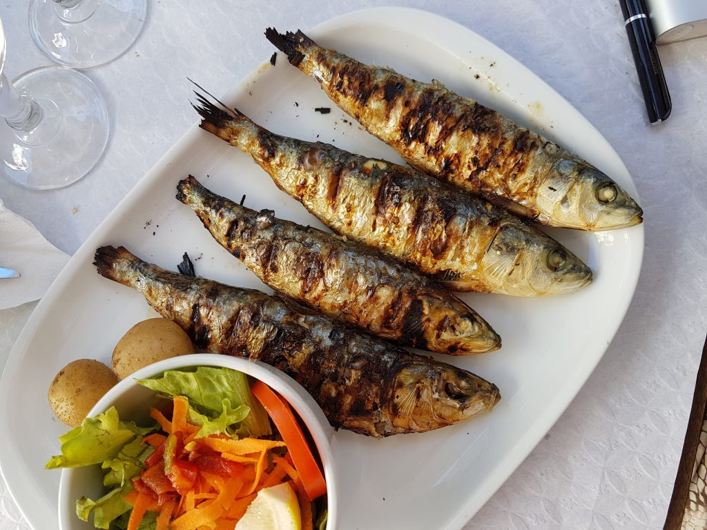 traditional balkan food, a plate of grilled fish